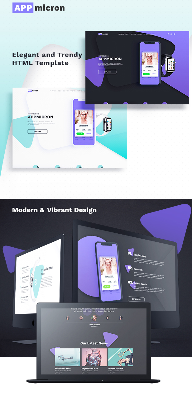 appmicron - html application landing page (landing pages) APPMICRON – HTML Application Landing Page (Landing Pages) features